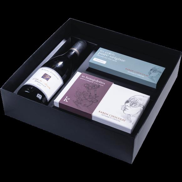 Coffret Cadeau Vin Brouilly Chocolat Beaujolais