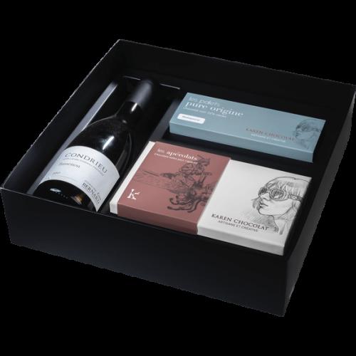 Coffret Cadeau Vin Condrieu Palet Gourmand Chocolat Apéritif