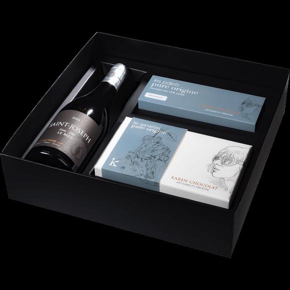 Coffret Cadeau Vin Saint Joseph Palet Ganache Pure Origine