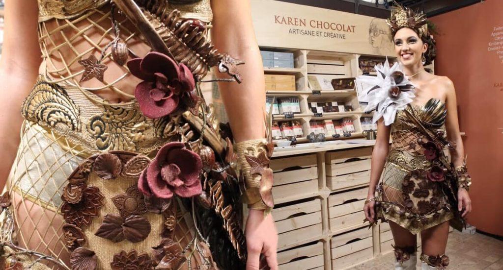 Création Robe en Chocolat Défilé Salon du Chocolat