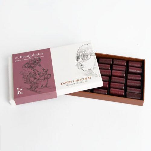 Les Beaujolettes Chocolats Boite Ouverte Vin Beaujolais Lyonnais