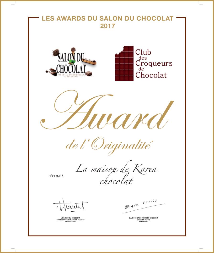 Salon du Chocolat Award Originalité Karen Chocolat
