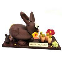 Sculpture Lapin Jardin Chocolat Paques