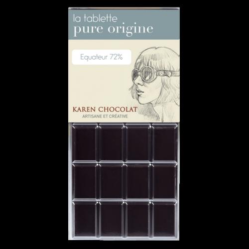 Tablette Chocolat Noir Origine Equateur 72 pourcent cacao