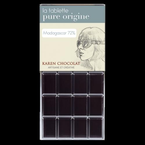 Tablette Chocolat Noir Origine Madagascar 72 pourcent cacao