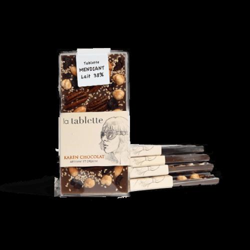 Tablette Mendiant Chocolat Côte d'Ivoire Lait 38%